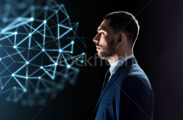 Zakenman naar netwerk virtueel projectie Stockfoto © dolgachov