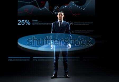 Zakenman naar virtueel grafiek hologram zakenlieden Stockfoto © dolgachov
