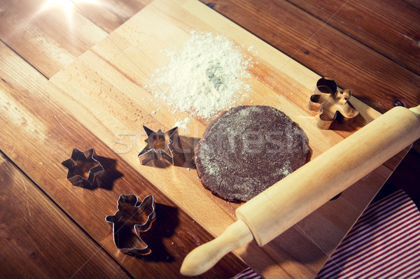 close up of ginger dough, molds and rolling pin Stock photo © dolgachov