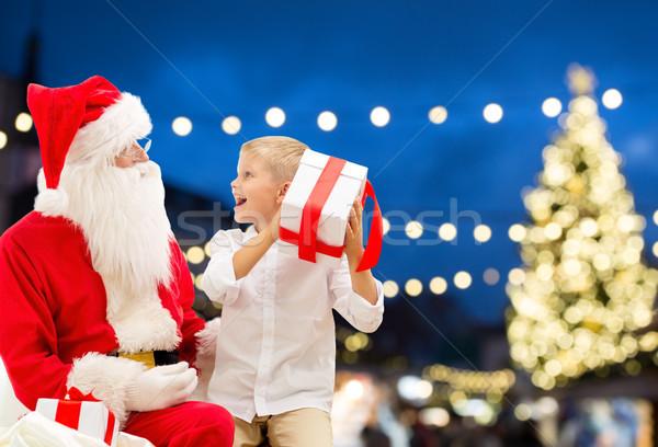 Noel baba Noel hediye tatil insanlar Stok fotoğraf © dolgachov