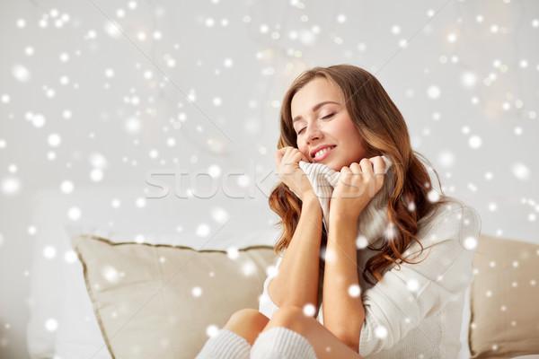 Felice caldo pullover home Natale Foto d'archivio © dolgachov