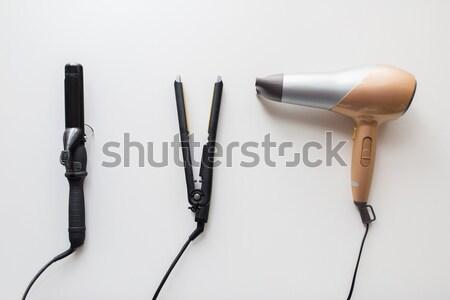 Suszarka do włosów hot żelaza szczypce włosy narzędzia Zdjęcia stock © dolgachov