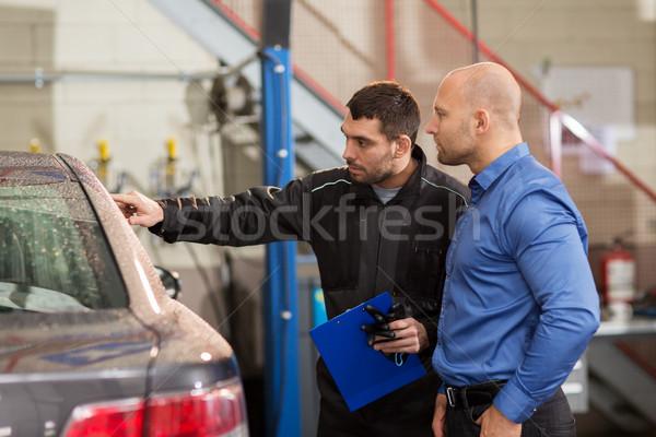 Mecánico de automóviles cliente coche tienda auto servicio Foto stock © dolgachov