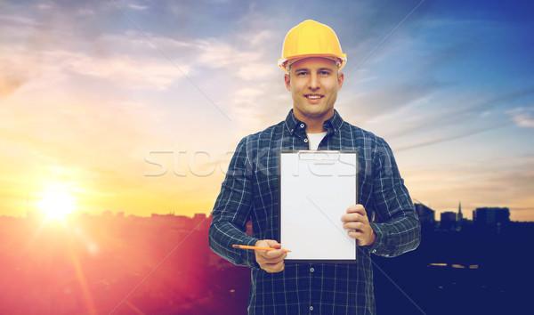 Erkek oluşturucu sarı inşaat Stok fotoğraf © dolgachov