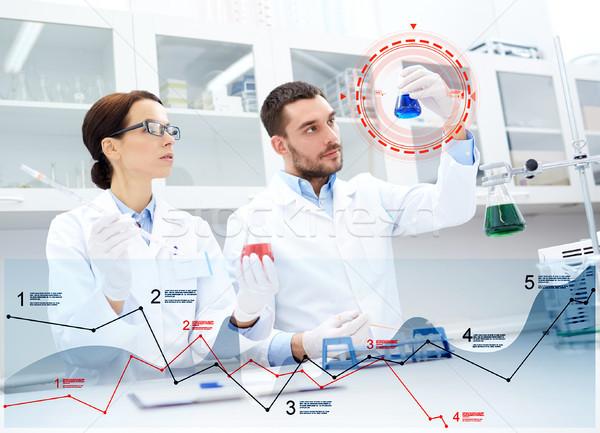 Jonge wetenschappers test onderzoek lab Stockfoto © dolgachov