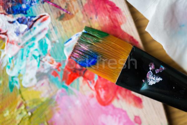 Közelkép szín paletta ecset festék képzőművészet Stock fotó © dolgachov