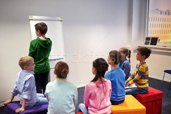 Diák fiú jelző ír tábla oktatás Stock fotó © dolgachov