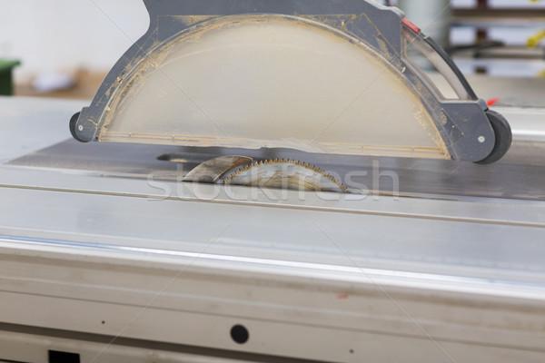 Stock photo: sliding panel saw at workshop