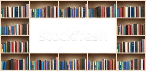 Stock fotó: Könyvek · fából · készült · polcok · copy · space · papír · textúra
