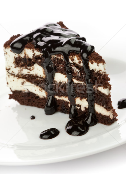 Pezzo torta nero sciroppo di cioccolato piatto Foto d'archivio © donatas1205