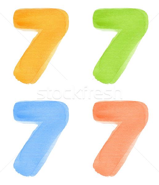 水彩画 番号 7 孤立した 紙 ストックフォト © donatas1205