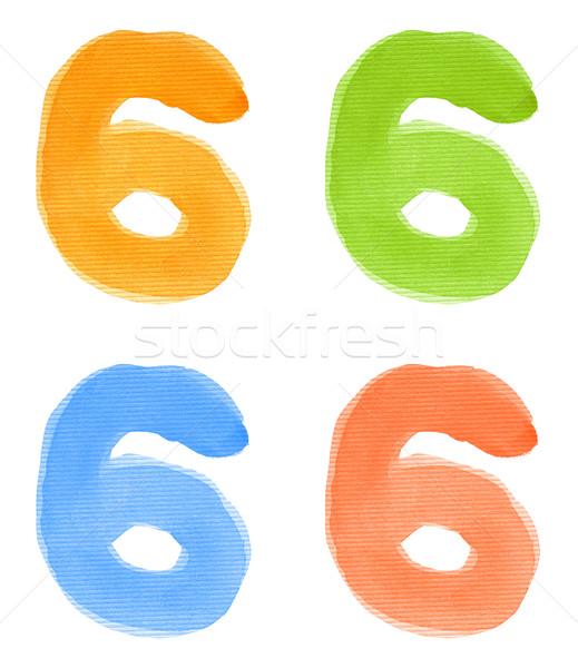 水彩画 番号 6 孤立した 紙 ストックフォト © donatas1205