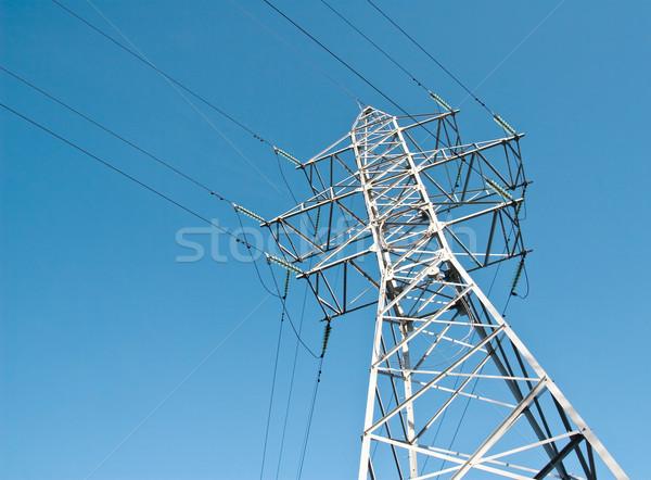 Pouvoir ligne haute tension source de courant ciel bleu ciel Photo stock © donatas1205