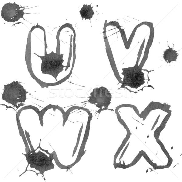 インク アルファベット 描いた 紙 グランジ 孤立した ストックフォト © donatas1205