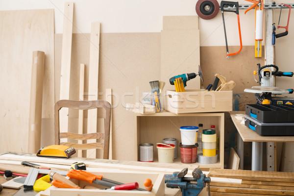 Stolarka stolarstwo warsztaty narzędzia drewna Zdjęcia stock © donatas1205