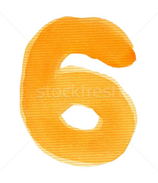 ストックフォト: 水彩画 · 番号 · 6 · 孤立した · 紙