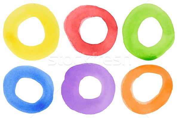 Stockfoto: Aquarel · cirkels · abstract · hand · geschilderd · cirkel
