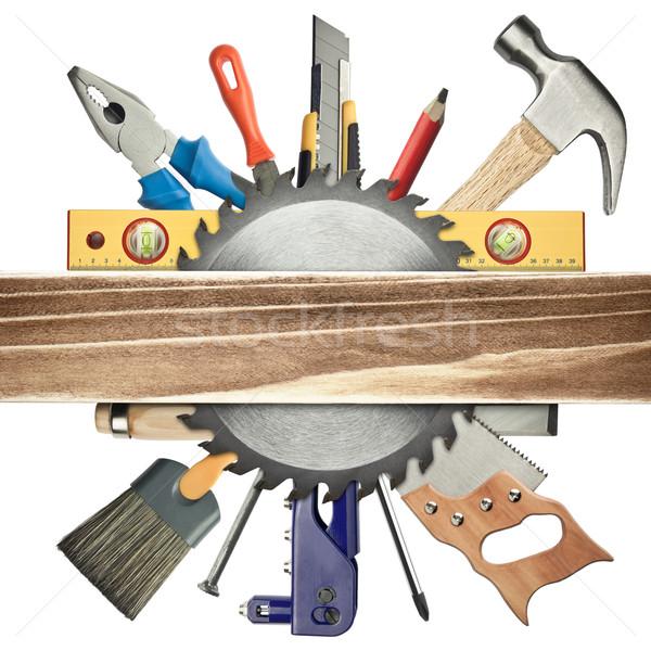 Timmerwerk tools hout plank werk potlood Stockfoto © donatas1205