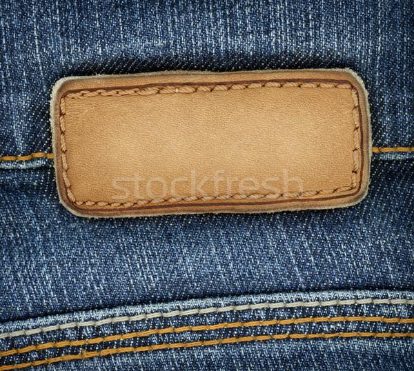 Foto stock: Jeans · etiqueta · couro · lata · usado