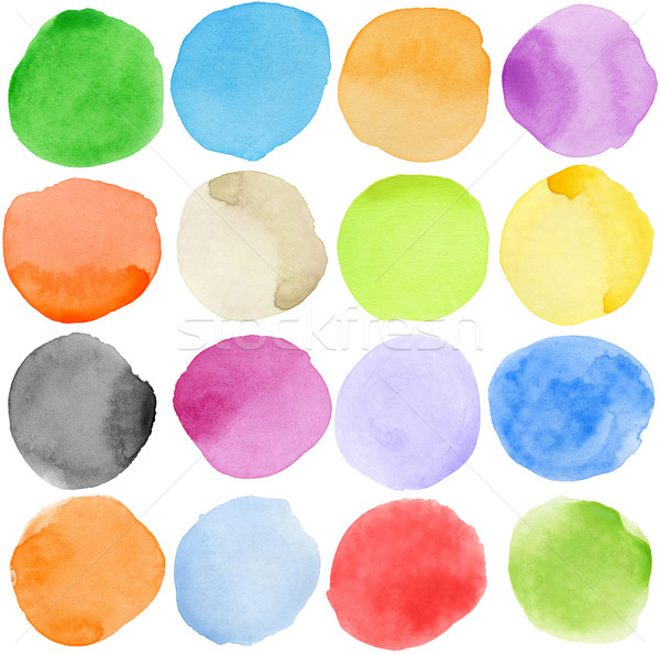 Couleur pour aquarelle main peint cercle forme Photo stock © donatas1205