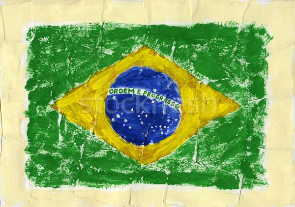 ストックフォト: 描いた · フラグ · 手 · アクリル · ブラジル · テクスチャ