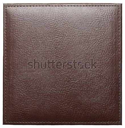 Stockfoto: Leder · label · steken · geïsoleerd · boek · mode