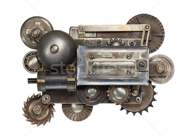 Stock fotó: Mechanizmus · stilizált · fém · kollázs · gépi · berendezés