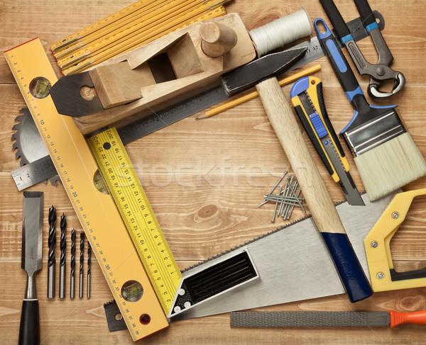 木材 作業 ツール 木製 見た 定規 ストックフォト © donatas1205
