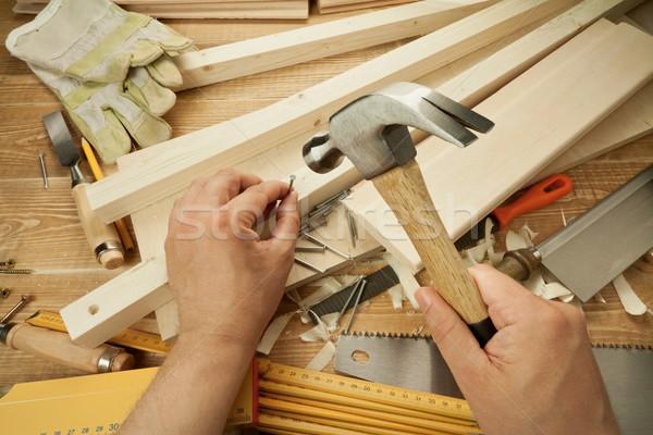 Legno lavoro legno workshop tavola strumenti Foto d'archivio © donatas1205