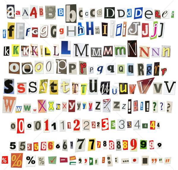 újság ábécé számok szimbólumok izolált fehér Stock fotó © donatas1205