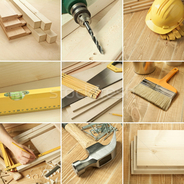Photo stock: Outils · collage · menuiserie · bois · texture