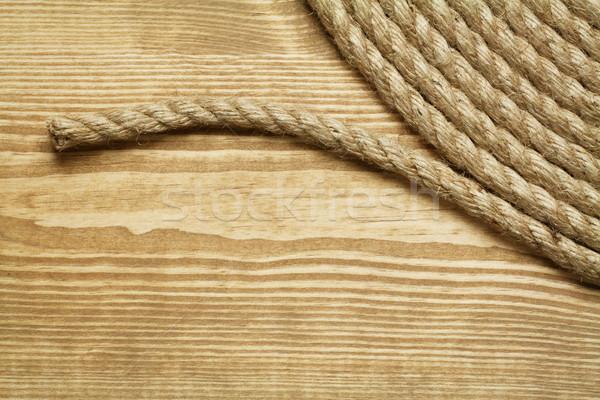 Stockfoto: Touw · rollen · ruw · houten · hout · abstract