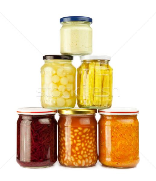 Megőrzött zöldségek boglya bab sárgarépa cékla Stock fotó © donatas1205