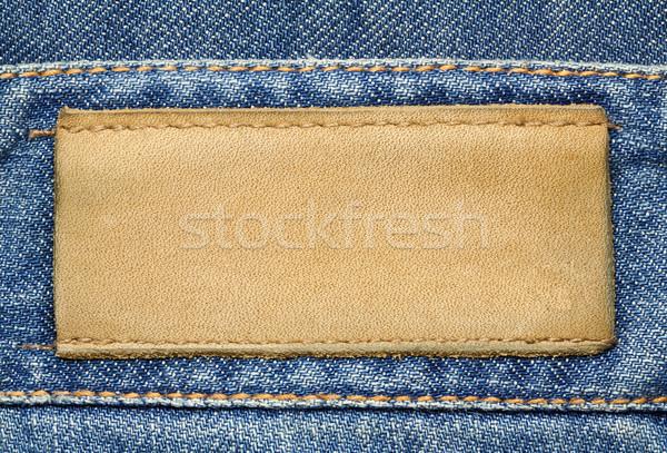 Dżinsy etykiety skóry tekstury tle niebieski Zdjęcia stock © donatas1205