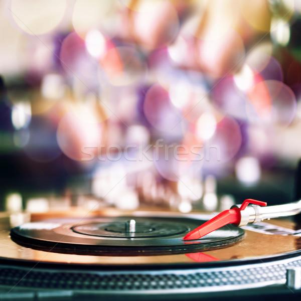 Spelen vinyl record technologie zwarte geluid Stockfoto © donatas1205