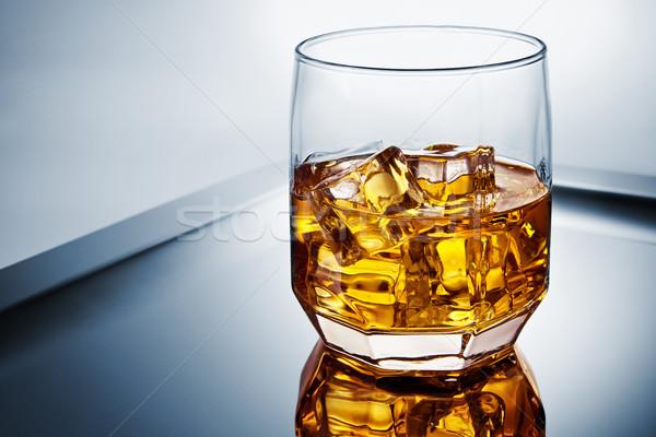 Whisky skał strony lodu bar złota Zdjęcia stock © donatas1205