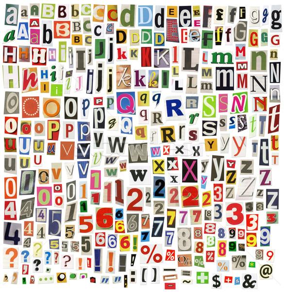 újság ábécé levelek számok szimbólumok izolált Stock fotó © donatas1205