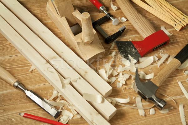 Stock fotó: Fa · dolgozik · fából · készült · műhely · asztal · szerszámok