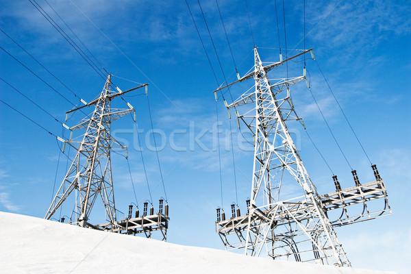 Güç hat güç kaynağı gökyüzü Metal Stok fotoğraf © donatas1205