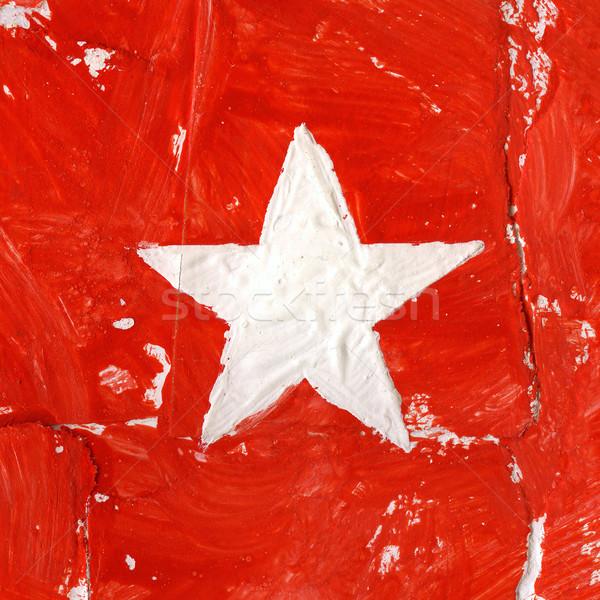 Acrylique peint blanche star rouge papier Photo stock © donatas1205