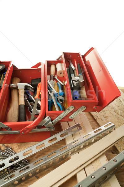 Houtwerk bouwmaterialen hout bouw werk Stockfoto © donatas1205