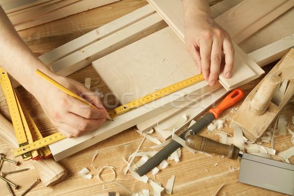 Photo stock: Bois · travail · bois · atelier · table · outils