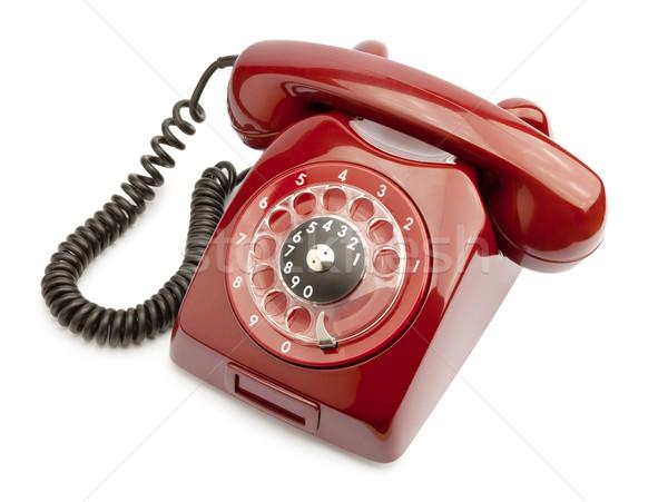 Stockfoto: Oude · telefoon · Rood · geïsoleerd · witte · business