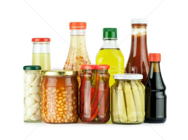 Megőrzött zöldségek üveg étel kukorica fekete Stock fotó © donatas1205