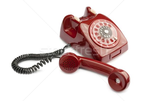 Сток-фото: старые · телефон · красный · изолированный · белый · бизнеса