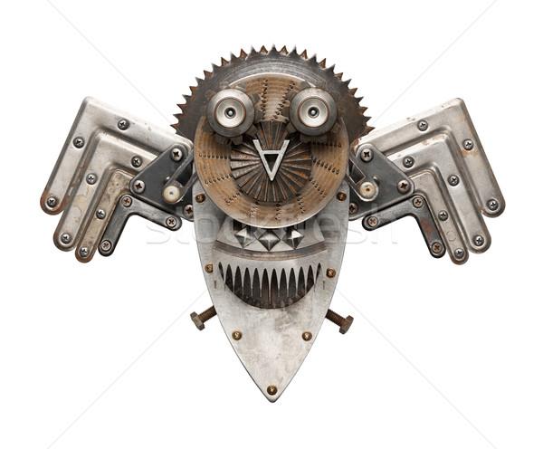 Сток-фото: совы · стилизованный · металл · коллаж · изолированный · фон
