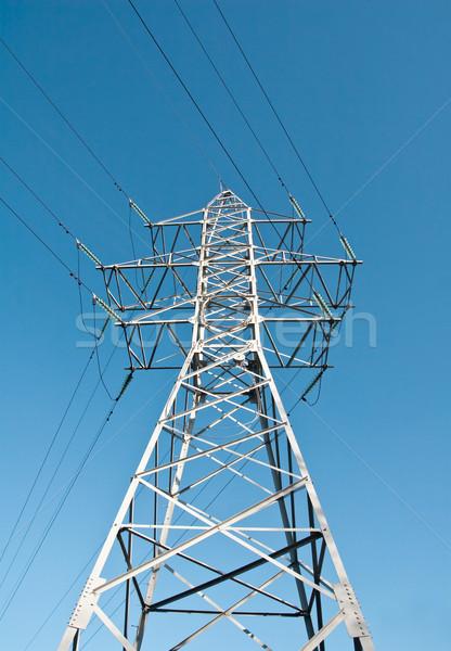 Güç hat güç kaynağı mavi gökyüzü gökyüzü Stok fotoğraf © donatas1205