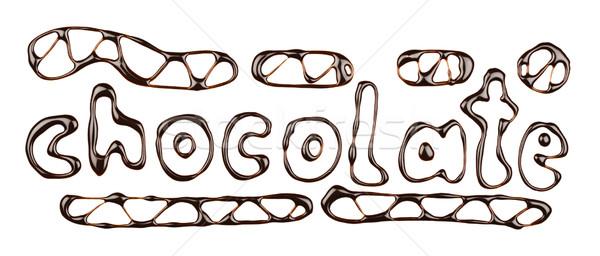 Cioccolato parola scritto sciroppo di cioccolato isolato alimentare Foto d'archivio © donatas1205