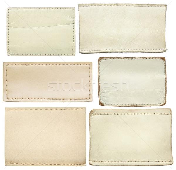 джинсов Этикетки белый кожа текстуры Сток-фото © donatas1205