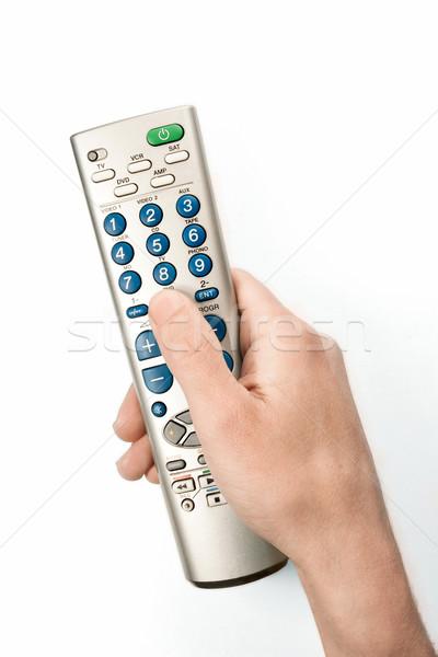 Uzaktan kumanda görüntü beyaz fotoğraf el televizyon Stok fotoğraf © donatas1205